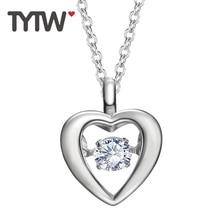TYTW S925 Sterling Silber Tanz Stein Frauen Herz Halskette Rhodium Anhänger Mutter Schmuck Geschenk Zirkon Halsketten & Anhänger
