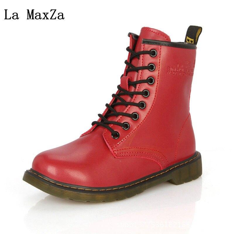 La MaxZa Women Snow Boots Hairy Flat Bottom Short Boots Female Winter Thickening Martin Boots Round Head Tie PU Flat Heel Shoes