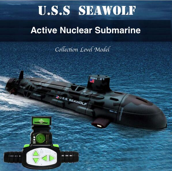 Newest Quality US Seawolf RC Submarine Model Nuclear-Powered Submarine RC Remote Control Boat Charging children's Toys 2016 new rc remote control car charging