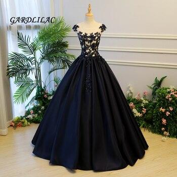 ca7c8a06bc6e6b6 Темно-синие бальное платье Пышное Платье 2019 Атлас Кружева Аппликации  длинное платье для выпускного вечера Sweet 16 Платья для 15 лет вечерние пл.