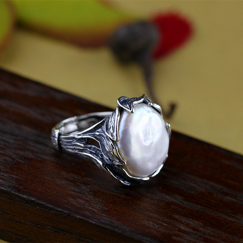 Luxury Natural Pearl Vintage Design Bohemian Antique Tree Leaves Wedding Finger Rings For Women 925 Sterling Silver Jewelry