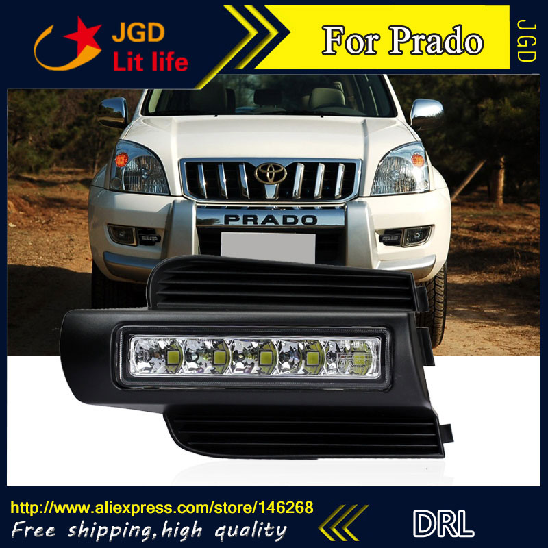 high quality ! LED DRL front fog lamp For Toyota prado 120 Land cruiser LC120 FJ120 2003~2009 daytime running lights купить
