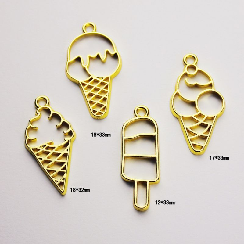 7 Pcs set Crafts Making Epoxy Border UV Metal Hollow DIY Jewelry Accessories Material Ice Cream Cone Shape Frame in Jewelry Findings Components from Jewelry Accessories