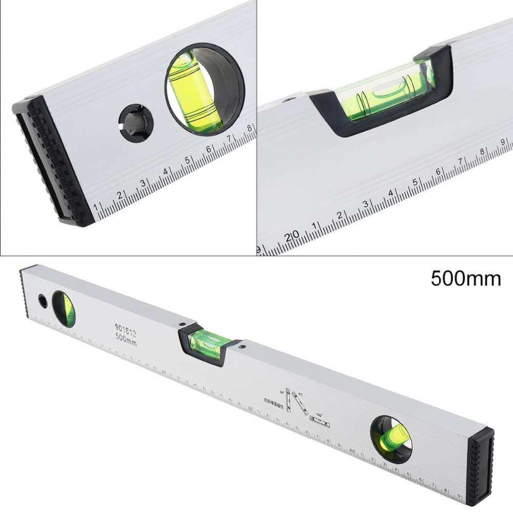 500mm Level Ruler 500mm High Accuracy Aluminum Alloy Bubble Level Ruler Angle Finder Measuring Tool Aluminum Level Ruler