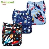 Mumsbest 3PCS Reusable Cloth Diaper Cover Washable Waterproof Baby Nappy PUL Suit 3 15kgs Adjustable