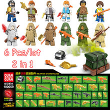6Pcs/lot 2 in 1 minifigurePUBG Weapons Ghillie Suit Building Blocks Sets Kids Classic Model Toys(China)
