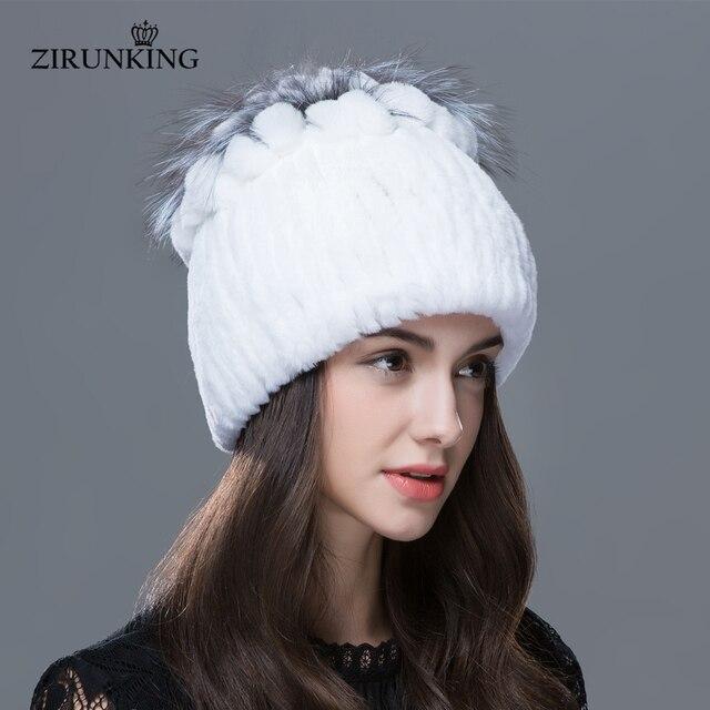 d0c3a40d3a181 ZIRUNKING Women Winter Fur Hat Warm Rex Rabbit Fur Hats With Fox Fur Flower  Top Women Quality Casual Beanies ZH1601