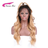 Carina Hair Full Lace Wigs 150% Density Human Hair Wavy Ombre 1b 27 Color Brazilian Remy Long Hair Glueless Wigs
