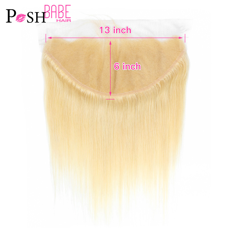 13x6 Lace Frontal Ear To Ear Brazilian Straight 613 Blonde Colored Human Hair Swiss Frontal Closure Bleached Knot With Baby Hair