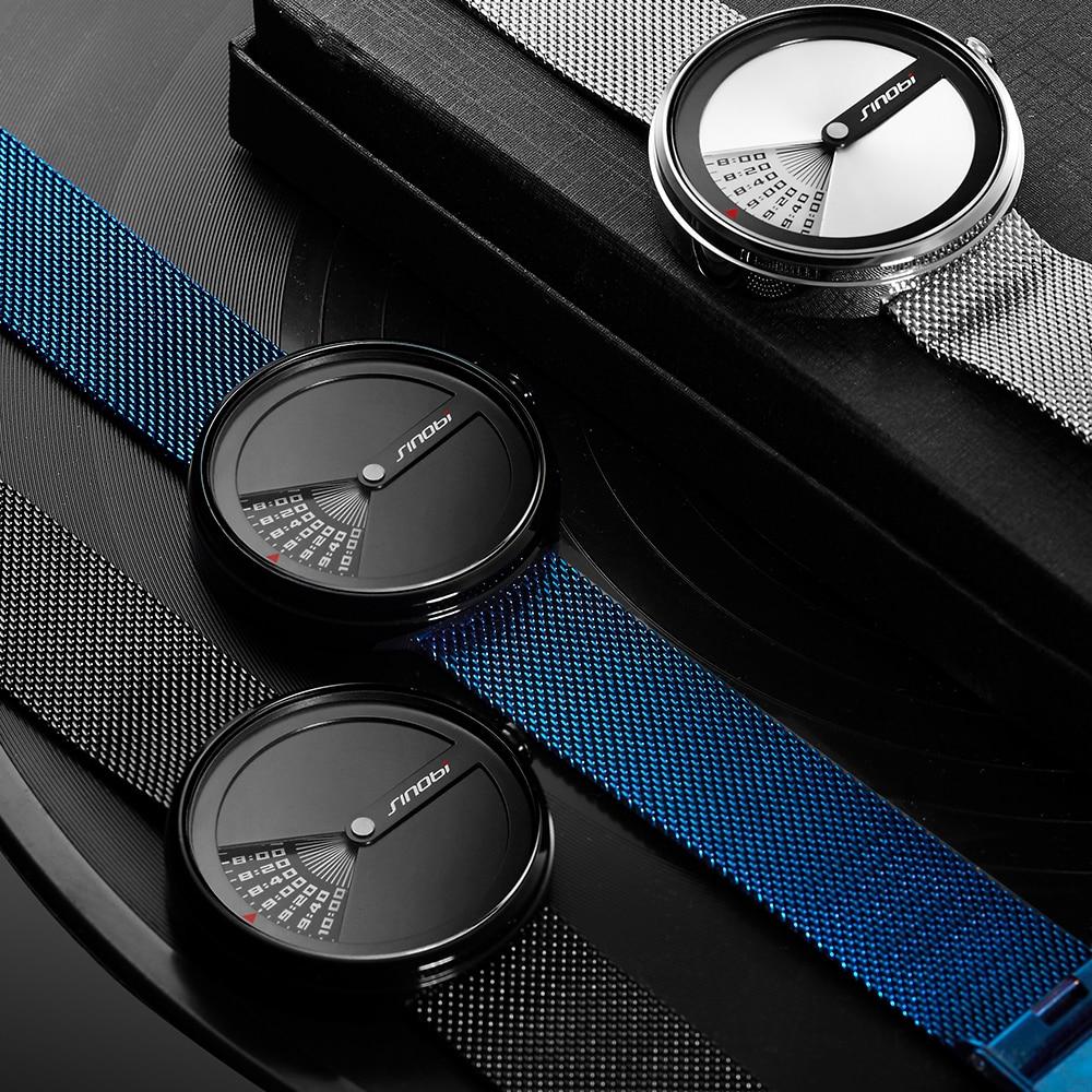 SINOBI Business Watches Men Fashion Original Design Watch Men Steel Mesh Men's Watch Clock Relogio Masculino Creative Wristwatch