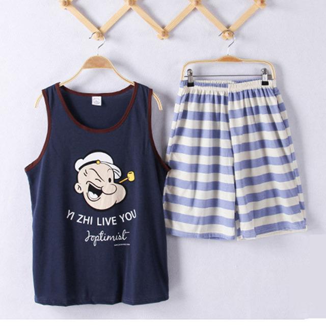 2018 New Summer Sleepwear men Pajama Couple Knitted Cotton Suit Nightwear Causal Lounge AP395 Free Shipping