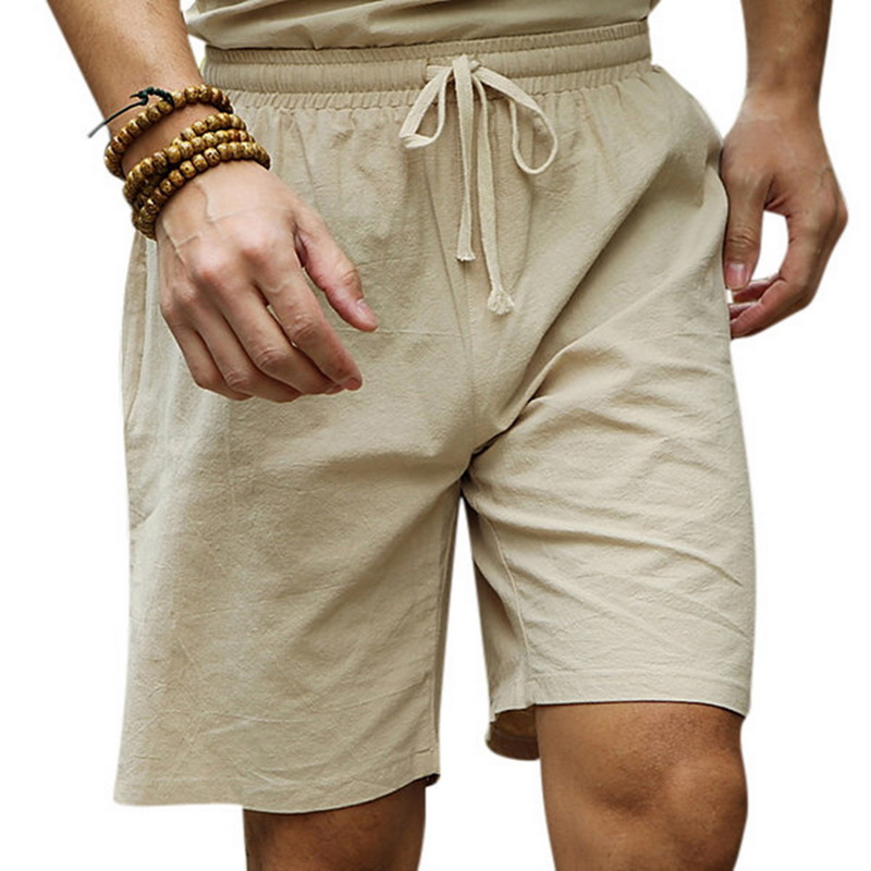 Oeak Men's Fashion Casual Summer Linen Elastic Drawstring Waistband Beach Shorts New Loose Slim Fit Sports Shorts