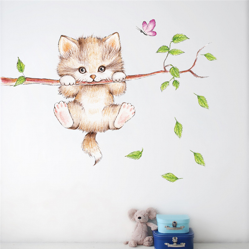 cute cat butterfly tree branch wall stickers for kids rooms home decoration cartoon animal wall decals diy posters pvc mural art 5