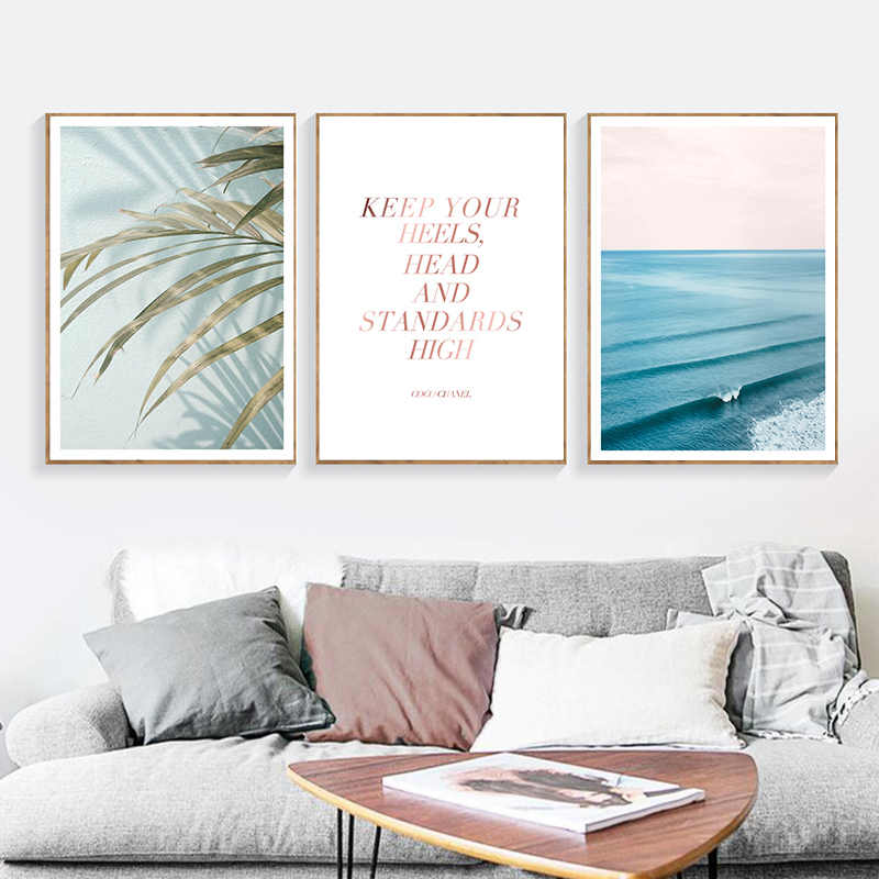 Tropical Decoration Sea Leaf Canvas Poster Nordic Style Wall ArtPrint Decorative
