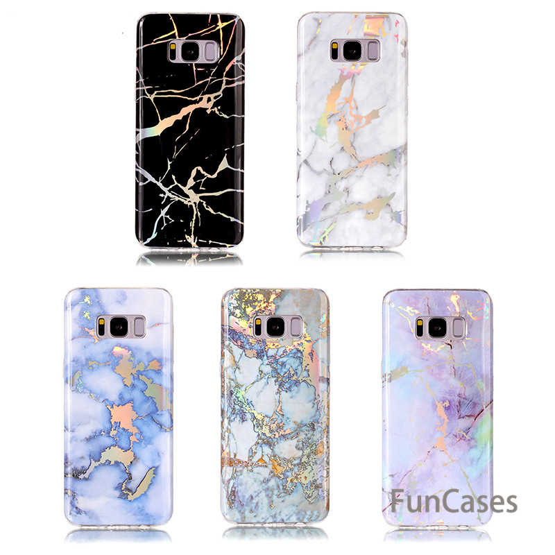 Marble laser phone case For Samsung Galaxy S8 S9 Plus Fashion Painted Silicone soft cover For Samsung S7 S6 Edge S8 Plus Cases