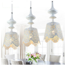 European white romantic 3 heads pendant lamps series sitting room dining room pendent lamp wrought iron