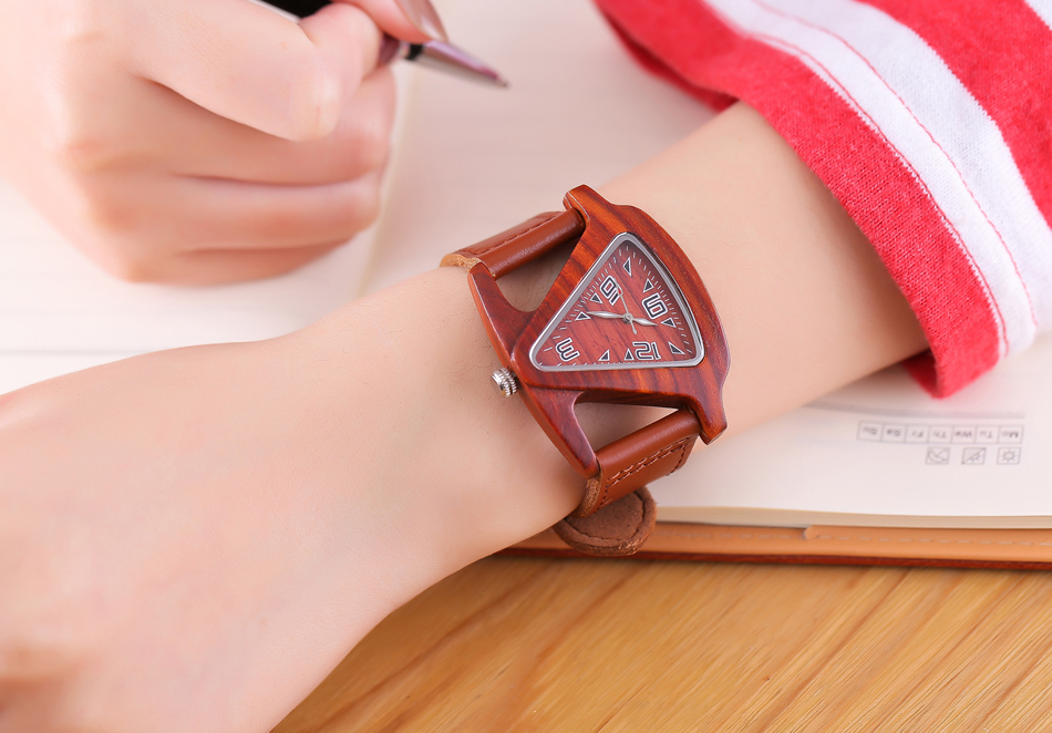 ALK leather strap female male wooden wristwatch 39