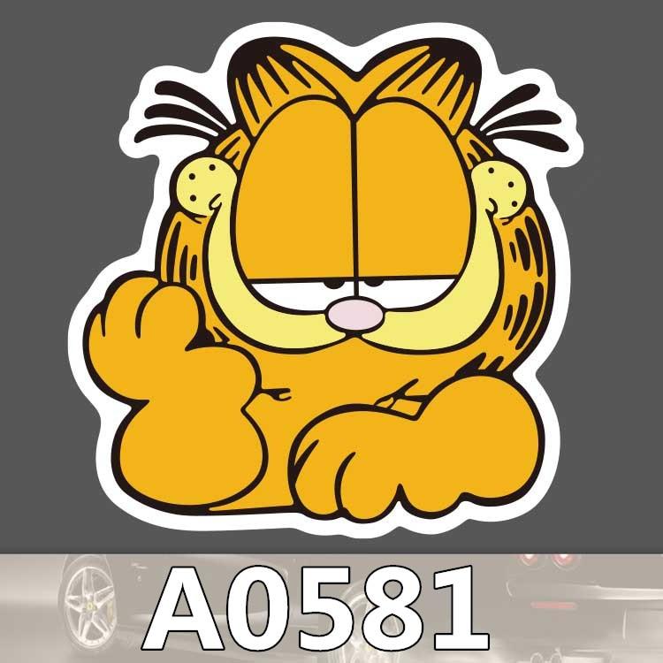 Bevle A0581 Garfield Car Styling Waterproof Sticker For Cars Laptop Luggage Skateboard Graffiti Cartoon Notebook Stickers