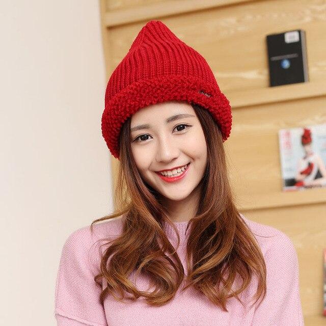 Зима женщины вязать шляпу Открытый прилив теплую шапку Чистый цвет букв дикие головные уборы