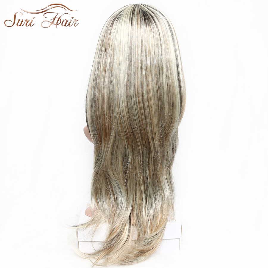 Suri Hair Long Blonde Natural Wavy Wig With Bangs Highlights Mixed Color Heat Resistant Synthetic Wig For Women 30 inch