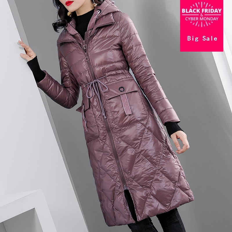 winter Fashion brand fake two pieces high waist hooded 90% duck   down   parkas winter was thin longer thicker warm   down     coat   wq636