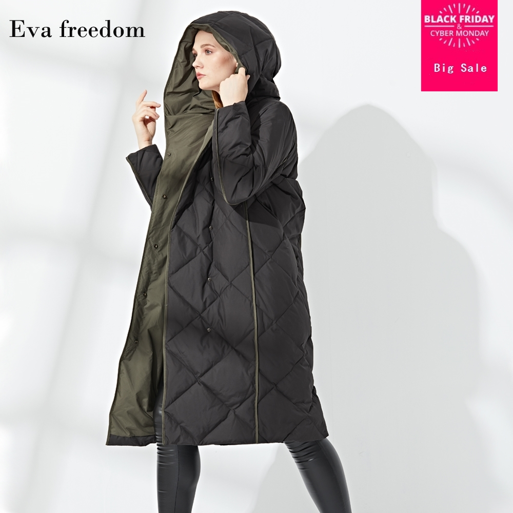 2019 new style rhombus stitcthing 90% white duck   down   jacket female hooded single breasted thicker warm longer   down     coat   wq147