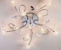 Современная мода Ресторан Crystal Cube G4 светодиодный лампы Потолочный светильник американский DIY Главная деко Chrome гладить цветок потолочный св