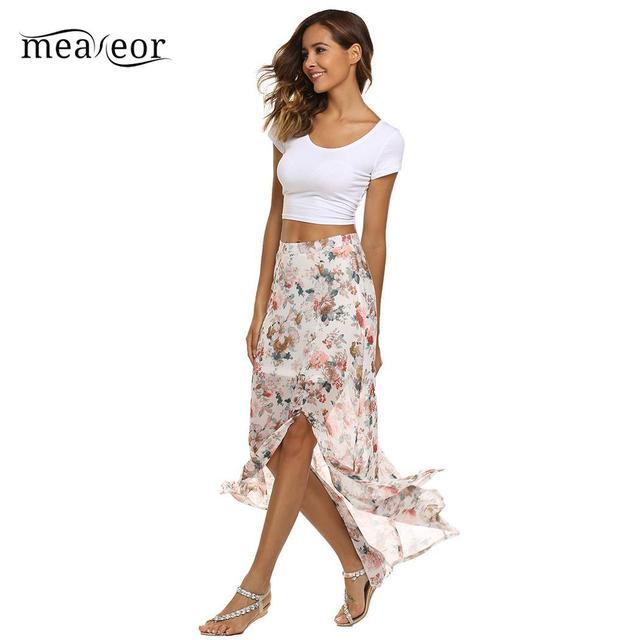 Meaneor Bohemian Floral Print Split Slim Fit Summer Beach Chiffon Women Party Skirt
