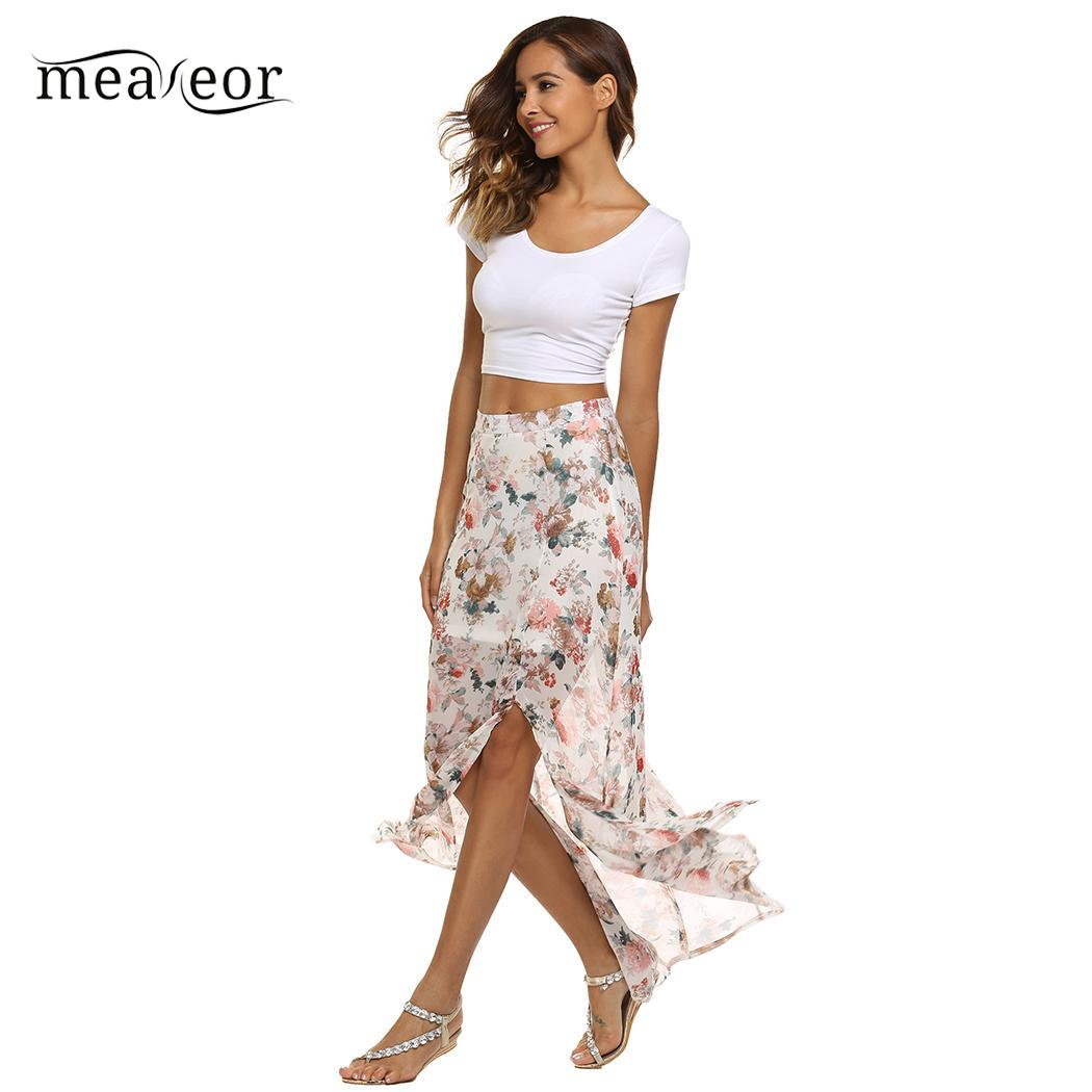 None Skirt Bohemian Floral Print Split Slim Fit Summer Beach Chiffon Maxi Women