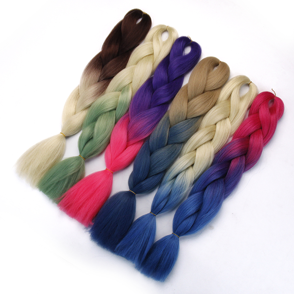 Hair Braid Synthetic Hair Extensions Jumbo False Braid Ombre Braiding Hair Pink Grey Blue Color Kanekalon(China)