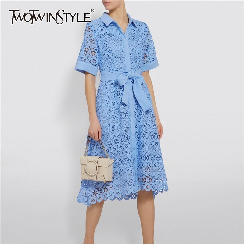 TWOTWINSTYLE Elegant Hollow Out Women Dress Lapel Short Sleeve High Waist Lace Up Knee Length Dresses