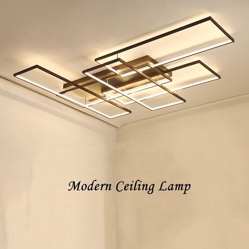 NEO Gleam DIY Coffee White Finish Rectangle Modern Led Ceiling Lights For Living Room Bedroom Study