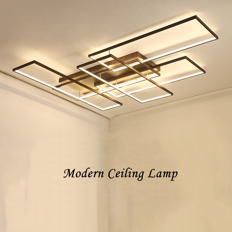 NEO Gleam DIY Coffee White Finish Rectangle Modern Led Ceiling Lights For Living Room Bedroom Study Room Ceiling Lamp Fixtures