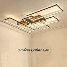 NEO Gleam DIY kahve beyaz kaplama dikdörtgen Modern Led tavan ışıkları oturma odası yatak odası çalışma odası tavan lambası fikstür