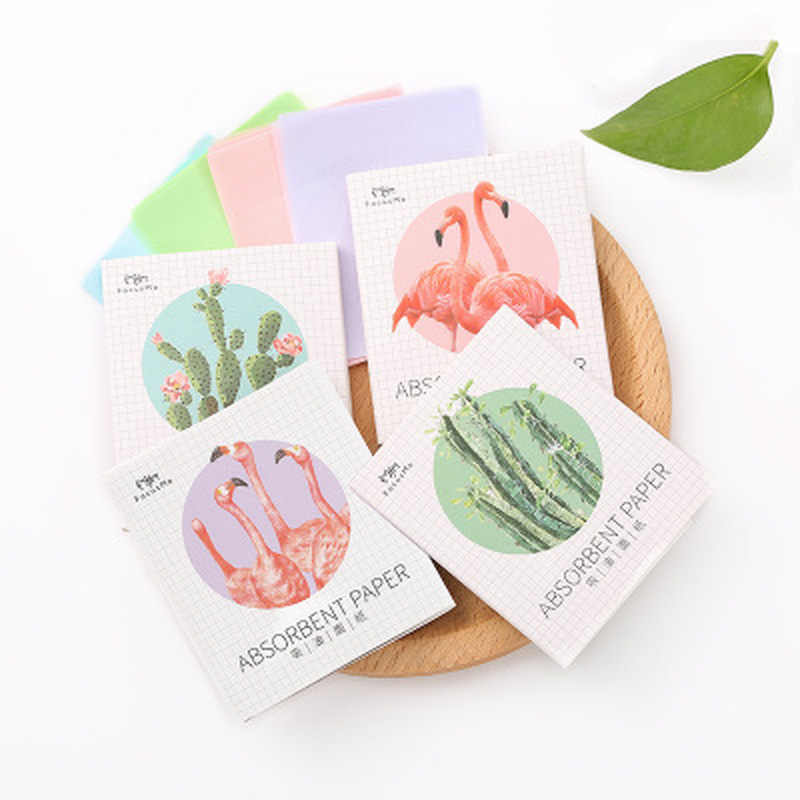 50Pcs Sheets/Pack Flamingo Makeup Facial Face Clean Oil Absorbing Blotting Papers Beauty Tools Pattern Random Facial Tissue