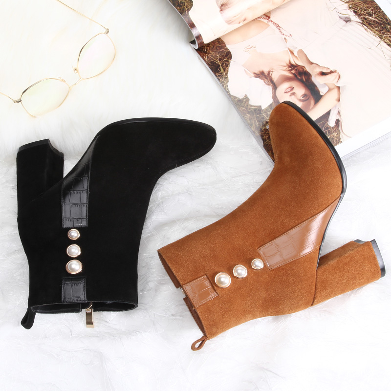 L&T  NEW Autumn winter short cylinder boots with high heel boots shoes Martin boots women ankle boots with thick scrub Cow suede dunlop winter maxx wm01 205 65 r15 t