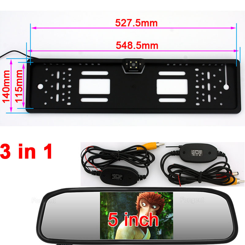 Vehicle reverse Wireless camera Monitor European License Plate Frame Backup Car Licence Number Plate Rear View Reverse parcking 2 x stainless steel european universla car license plate frame number plate holder front and rear eu plate