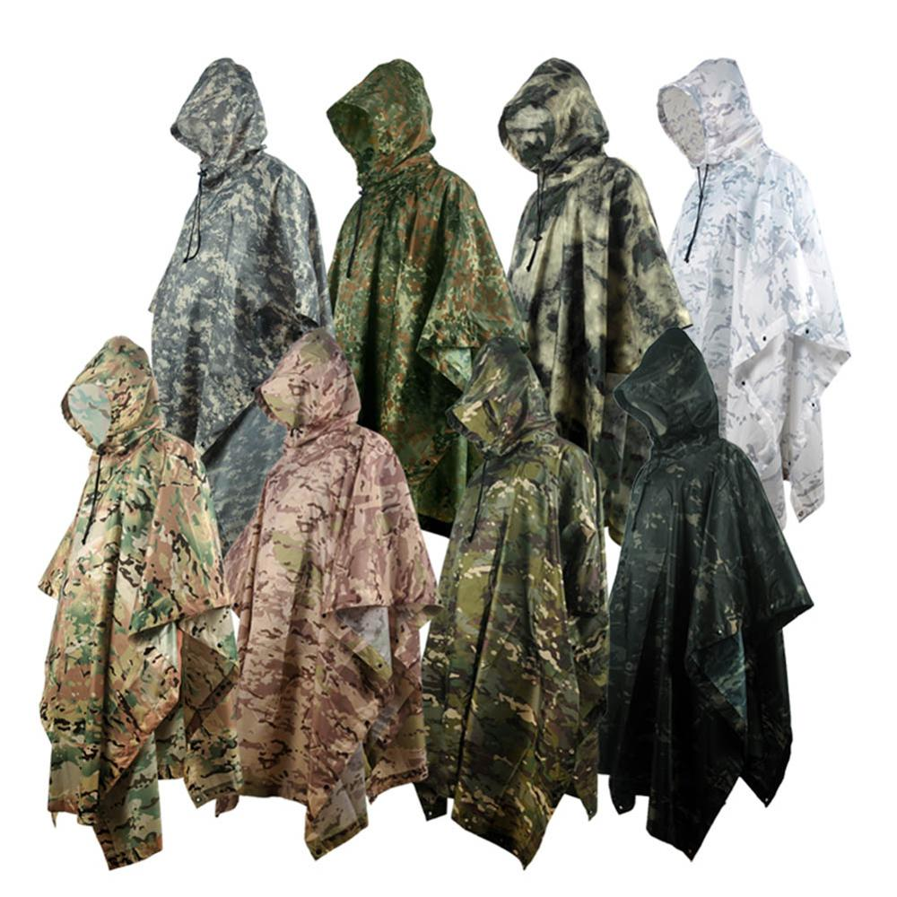 Outdoor Military Breathable Camouflage Poncho Jungle Tactical Raincoat Birdwatching Hiking Hunting Ghillie Suit Travel Rain Gear