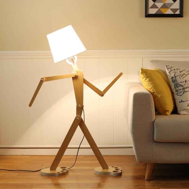 LED Floor Lamp 5W Modern Standing Wooden Light for Living Room ...