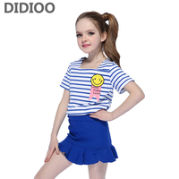 Clothing Sets For Girls Summer Children Cotton T Shirts Skirts Suits Kids Stripe Tops Skirts Sets