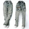 4-8A menino Adolescente calça jeans, crianças Denim Capris, latão botões Calças bordado Lavagem Do Vintage Leggings Calças outerwear MH9557