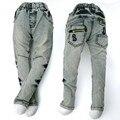 4-8Y Подросток мальчик джинсы, дети Джинсовые Капри, медными пуговицами Брюки вышитые Старинные Мыть Леггинсы Брюки верхняя одежда MH9557