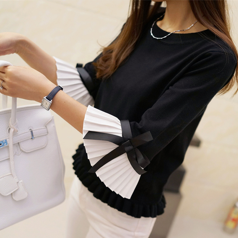 HAO HE SHEN 2019 NEW Fashion Spring Autumn Women Sweater Chiffon Flare Sleeve Bow Pullover Slim Sweaters Women High Quality Tops