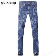 2017 весна новый стиль мужская высокое качество вышитые джинсы Печатных мужчины мода повседневная джинсы Бесплатная доставка