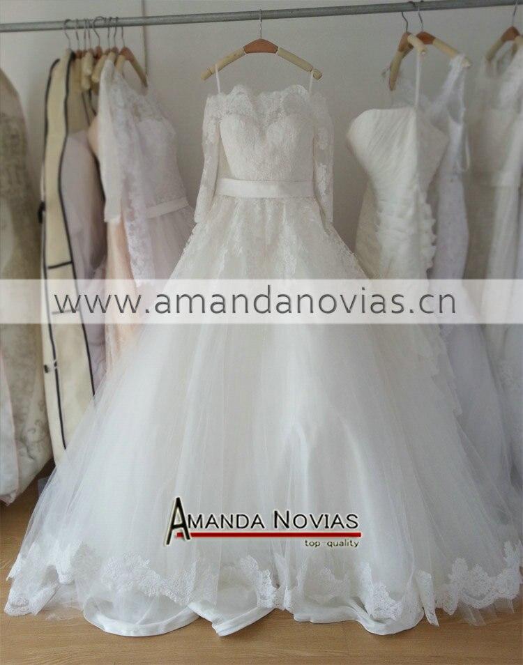 Beautiful New Model Half Sleeve Lace Appliques Wedding Dress Real Photo 2015