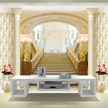Custom 3D Stereoscopic Wallpaper European Style Palace Stairs