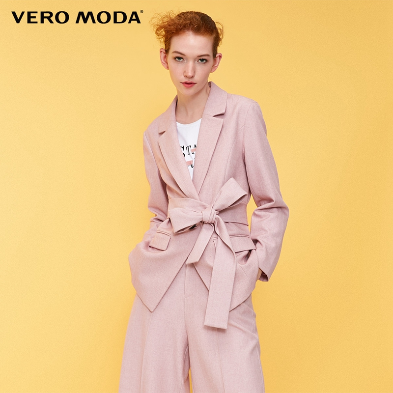 Vero Moda Women's Straight Fit Waist Belt Long Jacket Blazer|318308524