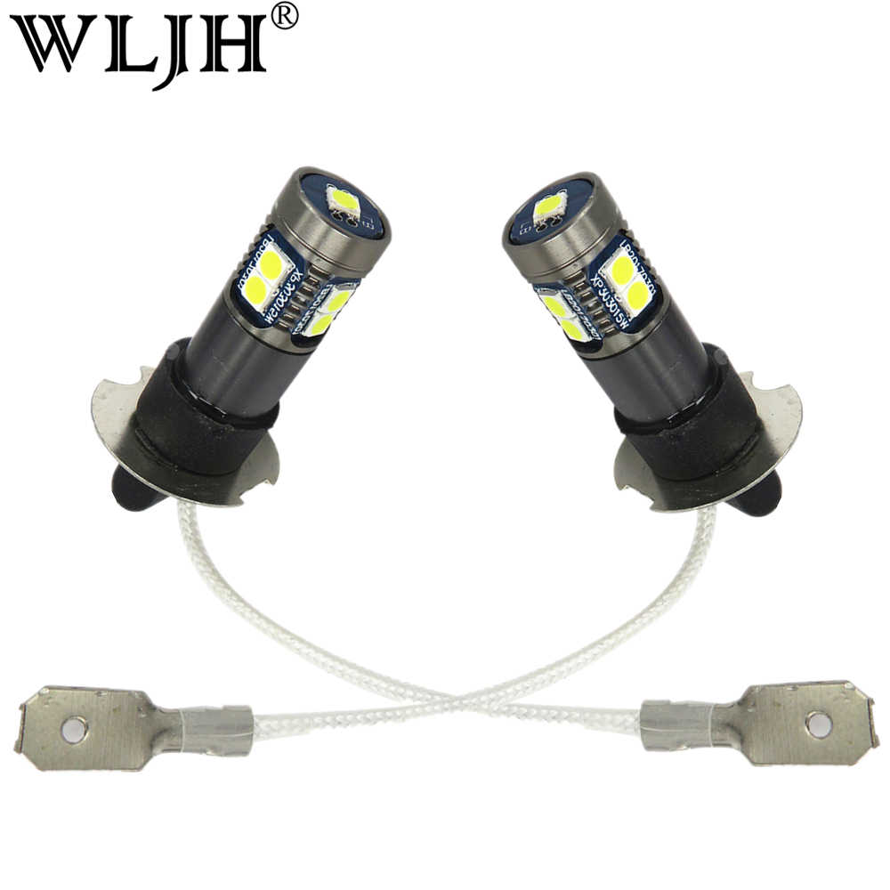 WLJH 2x 12V 24V DC White Led H3 Lamp Light Driving Daytime Bulb Car DRL H3 DRL Fog Light For Acura Honda Ford Infiniti Hyundai