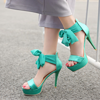 Hot Selling 2016 Women Sandals 10cm Thin Heels Sandals Nice Soft Leather Gold Green Silver Shoes