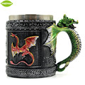 Resin Stainless Steel Fly Dragon Drinking Mug 3D Dragon Spine Tankard  Medieval Royal Vintage Coffee Copo Birthday Gift Caneca